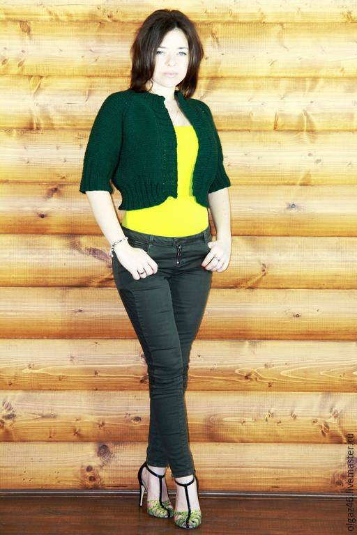 """Пиджаки, жакеты ручной работы. Ярмарка Мастеров - ручная работа. Купить Жакет вязаный """"Сочная трава"""". Handmade. Однотонный, изумрудный"""