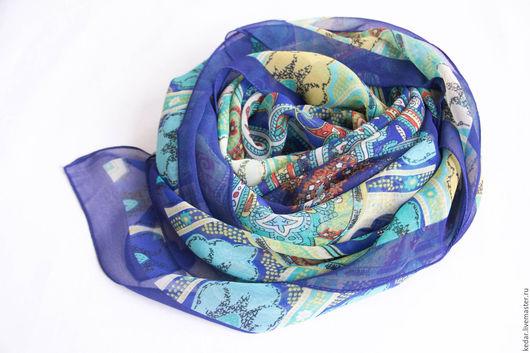 """Шали, палантины ручной работы. Ярмарка Мастеров - ручная работа. Купить Крепдешиновый платок из ткани ETRO """"Узоры"""" синий. Handmade."""