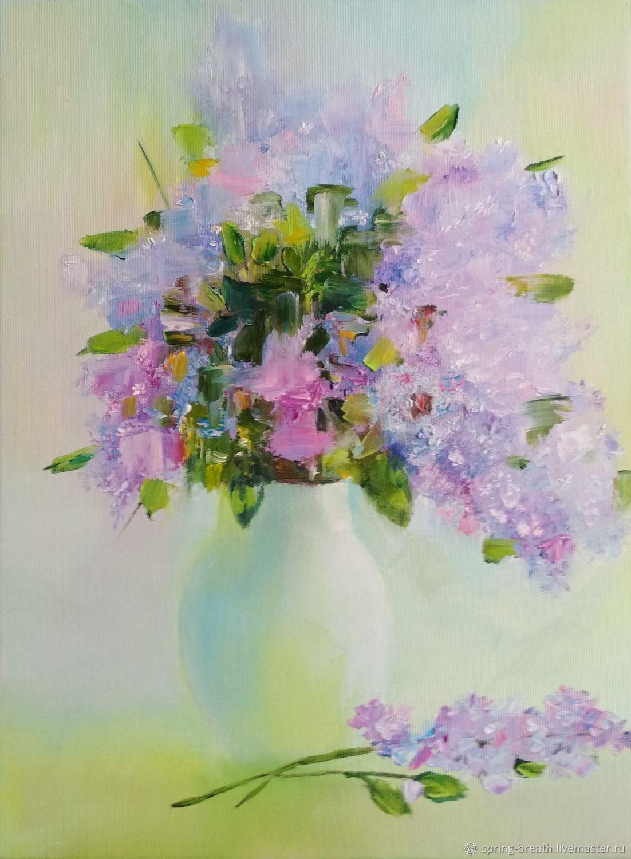 Картины цветов ручной работы. Ярмарка Мастеров - ручная работа. Купить Цветет сирень так нежно и красиво. Handmade. Цветы