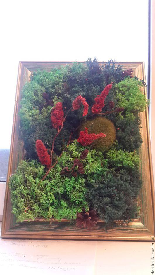 """Картины цветов ручной работы. Ярмарка Мастеров - ручная работа. Купить Фитокартина из стабилизированного мха """"Винтаж"""". Handmade. Зеленый, амарант"""