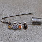 handmade. Livemaster - original item Pin with pendants, silver and gold. Handmade.