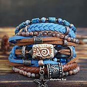 Украшения handmade. Livemaster - original item Blue bracelet with lapis lazuli and ceramics