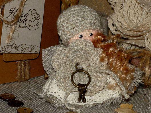Броши ручной работы. Ярмарка Мастеров - ручная работа. Купить Подберу ключики к Любви... Ангел в стиле Бохо Брошь льняная куколка. Handmade.