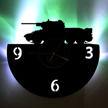 For home and interior handmade. Livemaster - original item Wall clock with backlight from the album T-34 Tank. Handmade.
