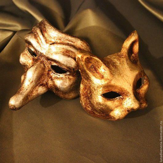 Интерьерные  маски ручной работы. Ярмарка Мастеров - ручная работа. Купить Маски венецианские Скарамучча и Гатто Золото (мини, пара). Handmade.
