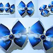 Работы для детей, ручной работы. Ярмарка Мастеров - ручная работа Банты в школу Градиент синий. Handmade.