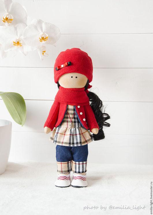 Куклы тыквоголовки ручной работы. Ярмарка Мастеров - ручная работа. Купить Малышка в наличии. Handmade. Ярко-красный, тильда кукла