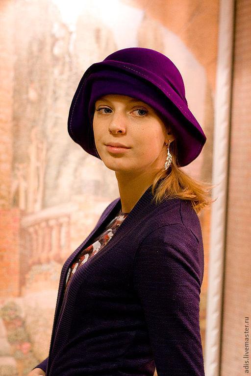 Шляпы ручной работы. Ярмарка Мастеров - ручная работа. Купить Клош фиолет. Handmade. Тёмно-фиолетовый, фетровая шляпа