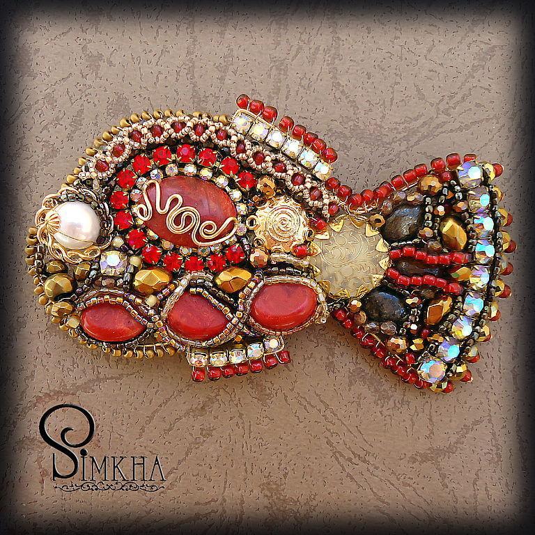 Brooches handmade. Livemaster - handmade. Buy Large brooch 'Fish of St. Peter' red.Metal, rhinestones