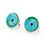 Украшения handmade. Livemaster - original item Nautilus EARRINGS. Turquoise and malachite. Natural stones. Handmade.. Handmade.