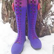 """Обувь ручной работы. Ярмарка Мастеров - ручная работа Валяные сапоги-ботфорты """"Фуксия"""". Handmade."""