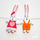 """Детская ручной работы. Ярмарка Мастеров - ручная работа. Купить Веселая гирлянда """"Влюбленные кролики"""" №2. Handmade. Ярко-красный"""