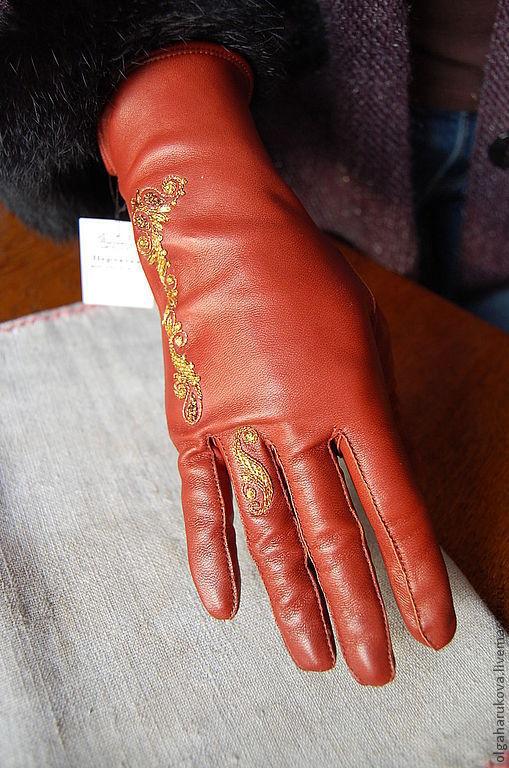 Варежки, митенки, перчатки ручной работы. Ярмарка Мастеров - ручная работа. Купить Перчатки с ручной вышивкой. Handmade. Рыжий