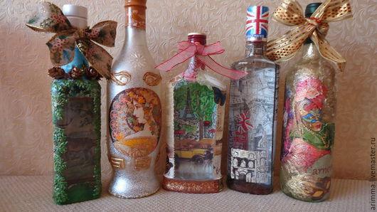 Персональные подарки ручной работы. Ярмарка Мастеров - ручная работа. Купить подарочные бутылки. Handmade. Разноцветный