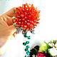 """Броши ручной работы. Ярмарка Мастеров - ручная работа. Купить Брошь """"Цветок для Любимой"""". Handmade. Коралловый, подарок"""
