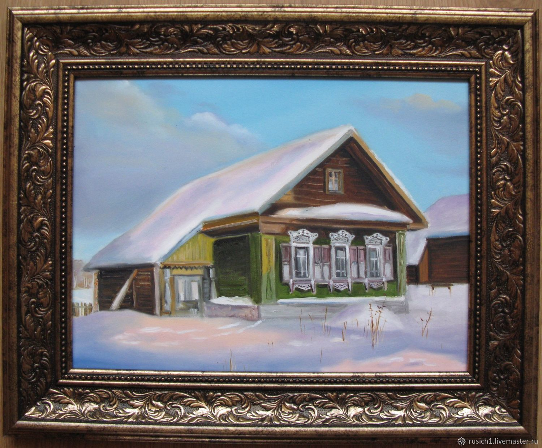 Дом в снегу. 30х40см, Пейзаж, Москва, Фото №1