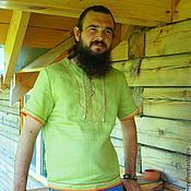 "Одежда ручной работы. Ярмарка Мастеров - ручная работа Мужская льняна рубаха ""Зелёный коктейль"". Handmade."