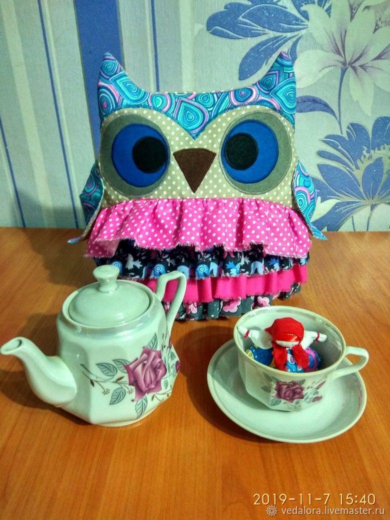 Owl hot water bottle on the kettle housewarming gift, Teapot cover, Salavat,  Фото №1