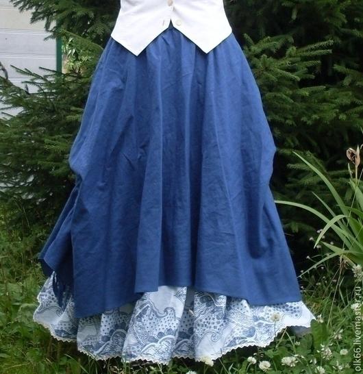 Юбки ручной работы. Ярмарка Мастеров - ручная работа. Купить №016 Льняная юбка-бохо. Handmade. Тёмно-синий, зима