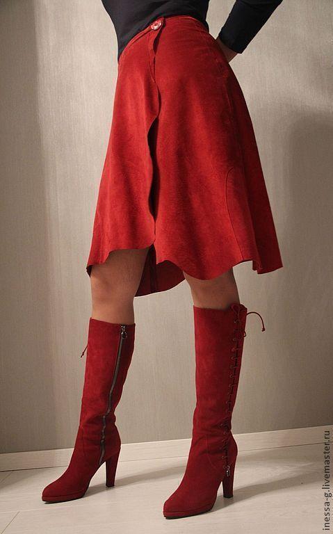 Юбки ручной работы. Ярмарка Мастеров - ручная работа. Купить Замшевая юбка винного цвета. Handmade. Замшевая юбка, однотонный