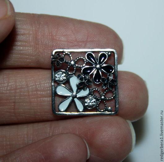 """Для украшений ручной работы. Ярмарка Мастеров - ручная работа. Купить Коннектор """"Черно-белые цветы"""" - серебрение 925 пробы. Handmade."""