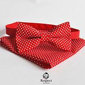 Аксессуары ручной работы. Ярмарка Мастеров - ручная работа Красная бабочка галстук в горошек + нагрудный платок / красная свадьба. Handmade.