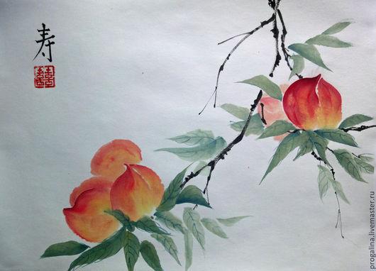Картины цветов ручной работы. Ярмарка Мастеров - ручная работа. Купить Спелые персики. Handmade. Персики, восточный стиль, картина