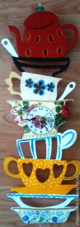 """Часы для дома ручной работы. Ярмарка Мастеров - ручная работа. Купить Часы настенные """"Федорино горе"""". Handmade. Часы кухонные"""