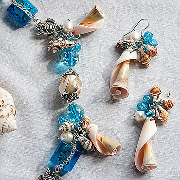 """Украшения ручной работы. Ярмарка Мастеров - ручная работа """"Хочу на море"""" летний комплект украшений. Handmade."""