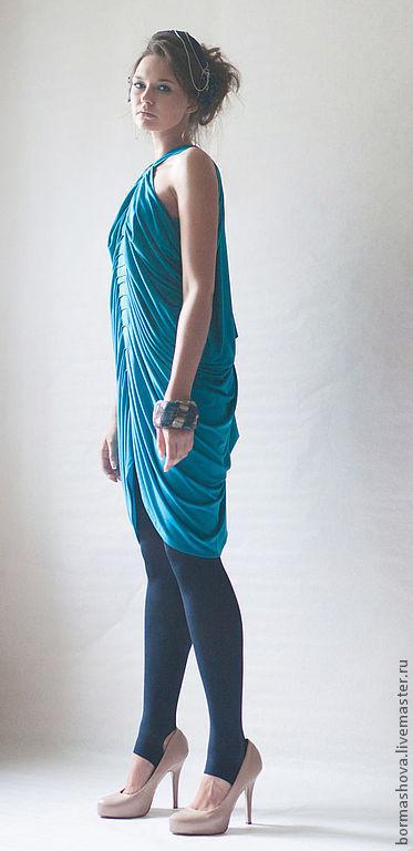 """Платья ручной работы. Ярмарка Мастеров - ручная работа. Купить Платье """"Blue cocon"""". Handmade. Тёмно-бирюзовый, складки, выпускной"""