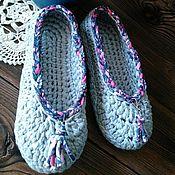 """Обувь ручной работы. Ярмарка Мастеров - ручная работа Стильные тапочки """" Кисточки"""" из трикотажной пряжи.. Handmade."""