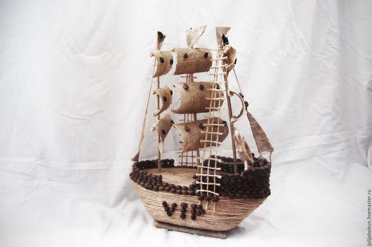 Миниатюрные модели ручной работы. Ярмарка Мастеров - ручная работа. Купить Корабль. Handmade. Корабль, интерьерное украшение, мешковина