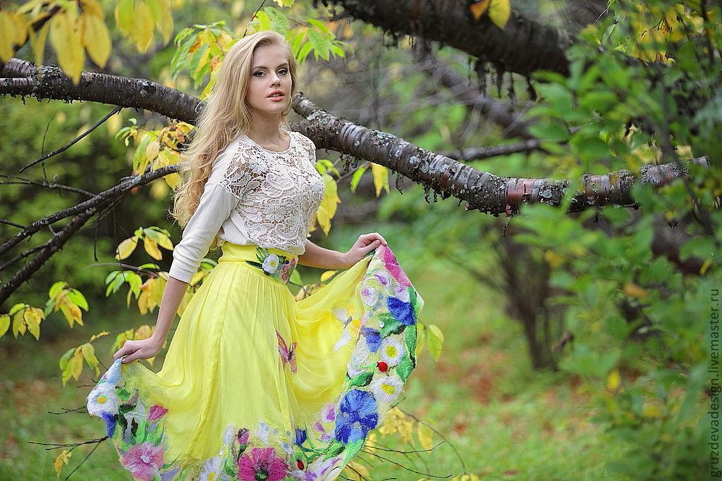 'Sunny Meadow' silk skirt with decor. handwork, Skirts, Nizhny Novgorod,  Фото №1
