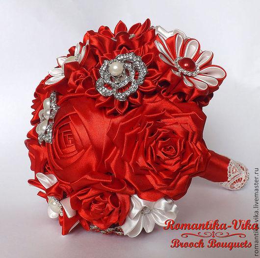"""Свадебные цветы ручной работы. Ярмарка Мастеров - ручная работа. Купить Свадебный брошь-букет """"Красный"""". Handmade. Ярко-красный"""