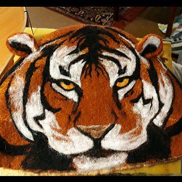 Аксессуары ручной работы. Ярмарка Мастеров - ручная работа Банная шапка Тигр. Handmade.