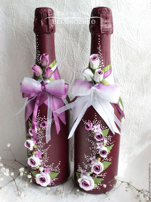 Свадебные аксессуары ручной работы. Ярмарка Мастеров - ручная работа. Купить Декор свадебных бутылок  Бордо. Handmade. Бордовый, девушка
