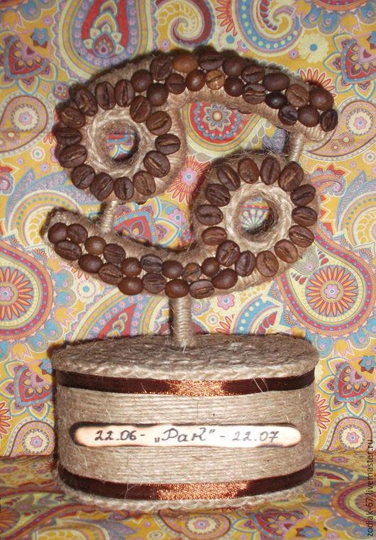 """Подарки по знакам Зодиака ручной работы. Ярмарка Мастеров - ручная работа. Купить Кофейный знак зодиака """"Рак"""". Handmade. Коричневый"""