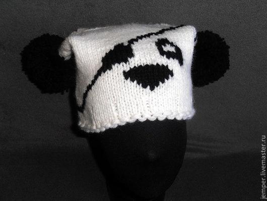 Шапки ручной работы. Ярмарка Мастеров - ручная работа. Купить Панда адмирала Нельсона шапочка вязаная. Handmade. Чёрно-белый