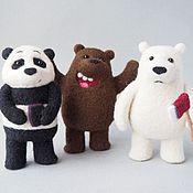 """Куклы и игрушки ручной работы. Ярмарка Мастеров - ручная работа Три фигурки медведя из мультфильма """"Мы обычные медведи"""" (We bare bears. Handmade."""