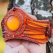 Украшения ручной работы. Ярмарка Мастеров - ручная работа Рыжий браслет с лентой шибори. Handmade.