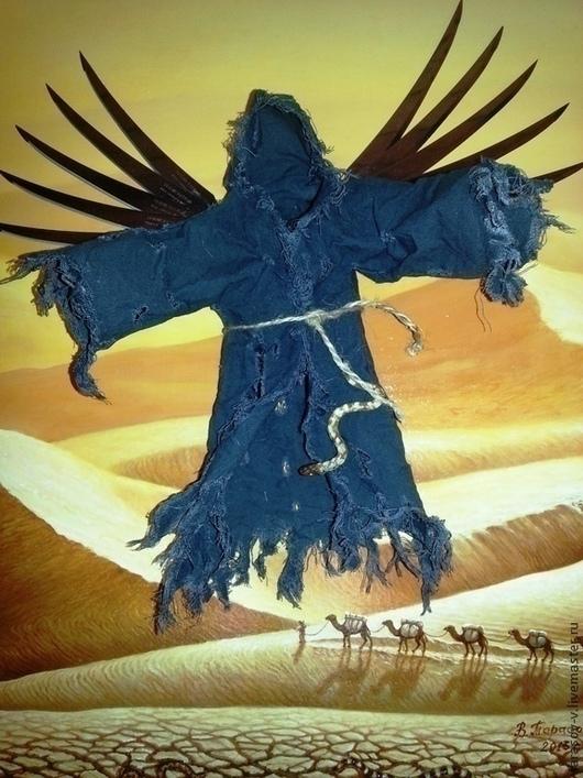 Символизм ручной работы. Ярмарка Мастеров - ручная работа. Купить Авторская 3Д картина Черный ангел пустыни.. Handmade. Пустыня