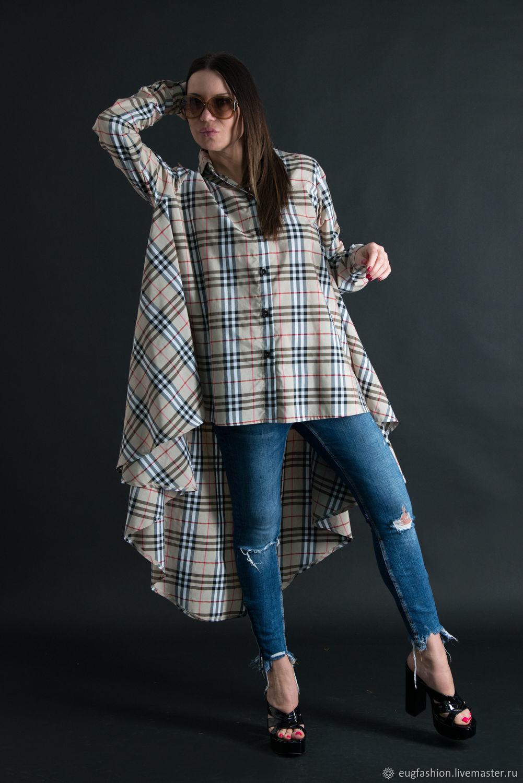Women's long sleeve shirt, Natural cotton - SH0436CT, Blouses, Sofia, Фото №1