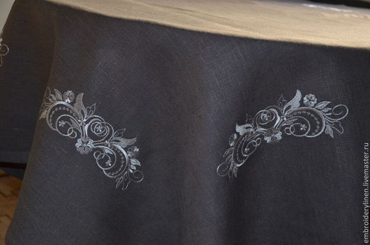 """Текстиль, ковры ручной работы. Ярмарка Мастеров - ручная работа. Купить Скатерть льняная """" Изящество"""". Handmade. Серый"""