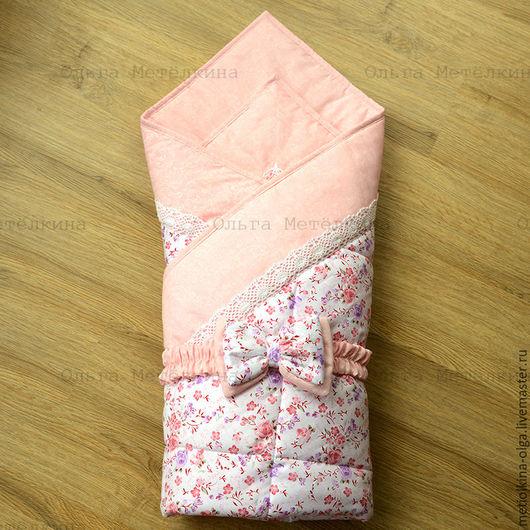 Для новорожденных, ручной работы. Ярмарка Мастеров - ручная работа. Купить Детское одеяло - конверт на выписку с бантом на резинке. Handmade.