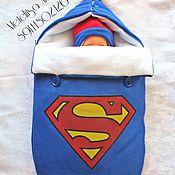 """Работы для детей, ручной работы. Ярмарка Мастеров - ручная работа Конверт на выписку и для прогулок """"Супер Мэн"""". Handmade."""