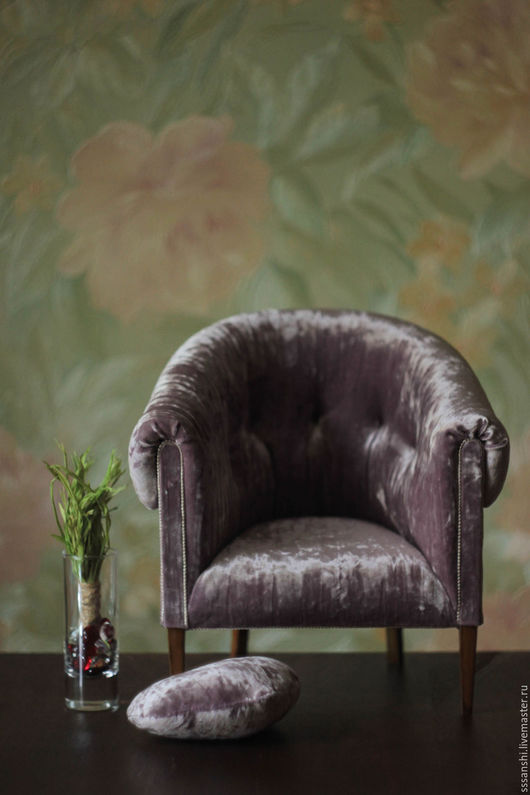 """Кукольный дом ручной работы. Ярмарка Мастеров - ручная работа. Купить Кресло 1:4 """"Violet"""". Handmade. Фиолетовый, миниатюра"""
