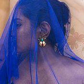 Украшения handmade. Livemaster - original item Earrings Bug 925 silver, turquoise, coral. Handmade.