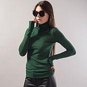 Одежда handmade. Livemaster - original item Green turtleneck top/Long Sleeve Tunic/Polo Top/ Casual Blouse/F1732. Handmade.