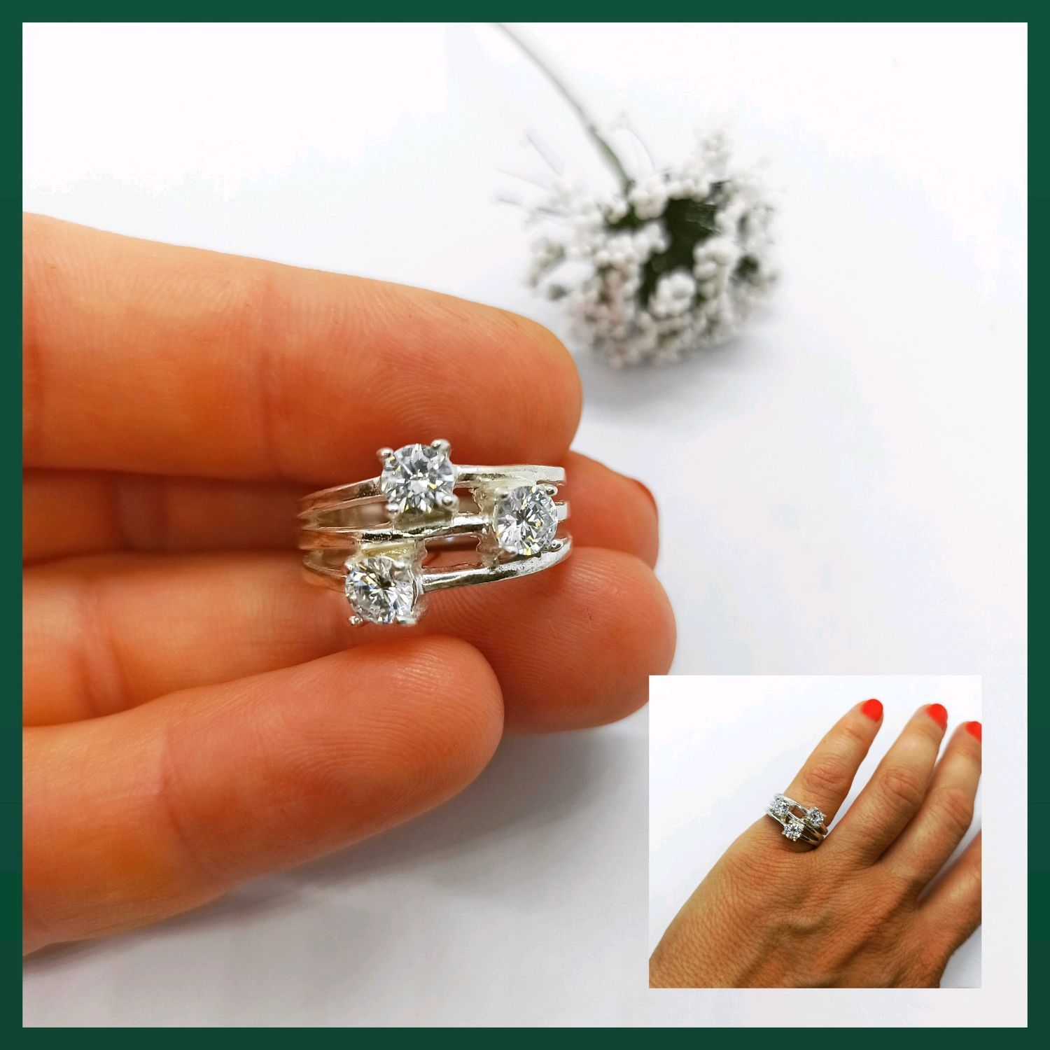 Ring with cubic zircons. Original three-in-one ring, Rings, Turin,  Фото №1