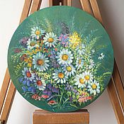 Картины и панно handmade. Livemaster - original item Picture panels, Flowering meadow .Oil on canvas on a round stretcher.. Handmade.